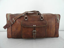 Real Brown Leather Hold-All Duffle Bag Weekend Travel Luggage Bag Sports Gym Bag