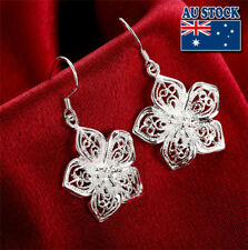 Wholesale Elegant Stunning 925 Sterling Silver Filled Filigree Flower Earrings