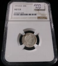 NGC AU53 1914-D 10C Barber Dime REPUNCHED MINT MARK RPM D/D