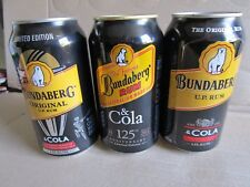 BUNDABERG RUM X 3 COLLECTABLE CANS !!