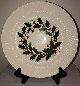 Scio Holly Berry Red Green Swirl Edge Vtg Bread Butter Plate Japan Christmas *