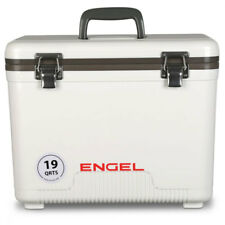 Engel 19 Quart Fishing Live Bait Dry Box Ice Cooler with Shoulder Strap, White