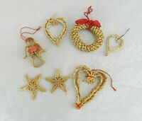 7 Braided Straw Christmas Ornaments Country Primitive Heart Star Angel Wreath