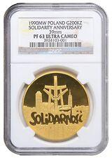 Gold 200000 Zl 1990 Poland Solidarnosc NGC PF63 Ultra Cameo, 1 Oz 999