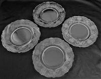 """HEISEY Elegant Crystal ORCHID Etch (4) Salad Plates (8-3/8"""")"""