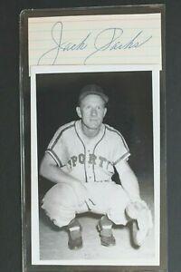Jack Parks (d.2001) Milwaukee Braves Signed Cut Autograph & Postcard