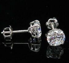 2.00Ct Brilliant Diamond Round Cut 14K SolidWhite Gold Screw Back Stud Earrings