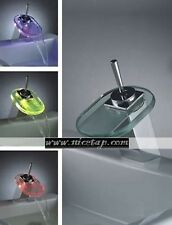Single Lever LED Bathroom Basin & Sink Waterfall Glass Mixer Tap. #126