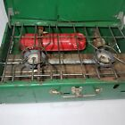 Vintage Coleman 413G Camp Stove 2 Burners Comes with Fuel Tank USED