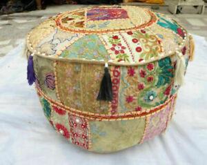 Bohemian Patchwork Stool Ottoman, Vintage Indian Stool,Sitzkissen Stool