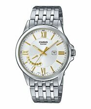 MTP-E125D-7A White Casio Men's Watches Stainless Steel Band 50M Date Display New