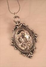 Handsome Holy Family Jesus Mary Joseph Medal Fluted Silvertone Pendant Necklace