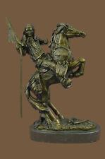 Native American Indian Horseback Warrior Signed Original Bronze Art Sculpture