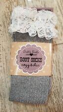 Grey Lace Edge Boot Socks