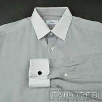 BRIONI Gray Herringbone FC 100% Cotton Mens Luxury Dress Shirt - 16.5