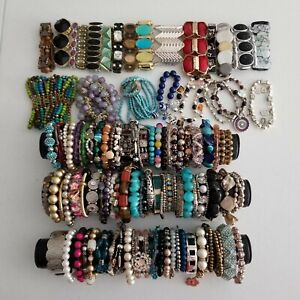 Lot 100 Stretch Bead Bracelets Wear Craft Harvest Pearl Rhinestone Southwest