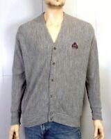 vtg 80s Izod men's Heather Gray Orlon Cardigan Sweater Crest Logo sz L