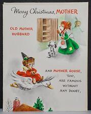 Vtg 40s UNUSED Hallmark Christmas Greeting Card Old Mother Hubbard Goose Machree