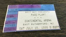Jimmy Page + Robert Plant Concert Ticket Stub- 7/18/98 Continental Arena Nj -Nm!