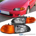 For 92-95 Honda Civic Eg Ej 4dr Sedan Black Headlightscorner Lamps Leftright