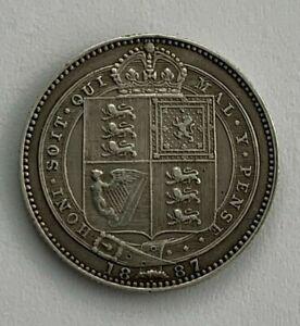 Victoria 0.500 Silver One  Shilling Coin , 1887. EF