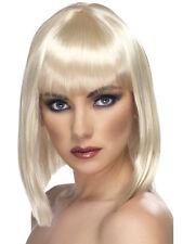 Womens Blonde Glam Wig Short Blunt Fringe Fancy Dress Beauty Model Styled Bob