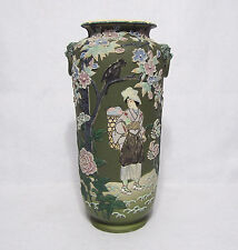 """Large 15"""" Nippon Moriage Vase with Painted Gardening Lady and Lion handles"""