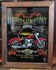 "Vintage Harley Davidson 1986 Harleys & Whiskey Glass Sign 12""x16"""