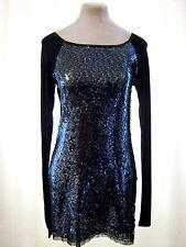 Next Black Sequin Sparkle long sleeve Stretch bodycon Wiggle Mini Dress Long Top