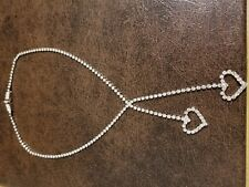 "Rhinestone Necklace, 14"" neck, made in Korea"