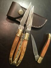 Damascus Laguiole Folding Knife Caramel Light Brown.Free Shipping