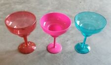 Lot of 3 Blue Red Hot Pink Plastic 16 oz. Margarita Glasses Extra Large