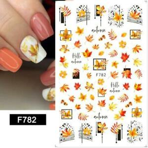 Nail Art Stickers Decals Autumn Winter Fall Flowers Floral Fern Leaf Leaves F782