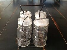 4 Wheaton Canning Mason Fruit Jars  8 Oz Clear Glass with  Wire Stand  Vintage