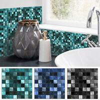 25Pcs Self-adhesive Red Mosaic Tile PVC Wall Stickers Kitchen Bathroom Wallpaper