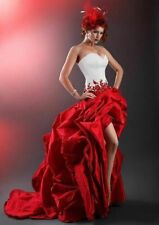 Sexy Beautiful White And Red Wedding Dress Sweet High Low Bridal Gown Size 6 8++