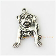 8Pcs Antiqued Silver Tone Roaring Animal Dog Charms Pendants 18x26mm