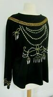 Vtg 80s Knit Top Womens XL Black Long Sleeve with Gold Ric Rac and Pearl Beads