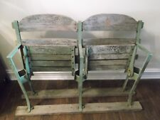 Set of 2 Vintage Briggs Tiger Stadium Seats Wood Chairs MLB Detroit baseball