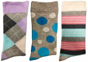 3 Pairs of Ladies JA25 Patterned Cotton Socks by Jennifer Anderton , UK Size 4-8