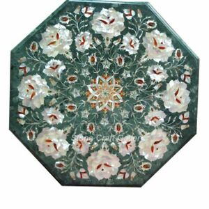 "12"" Green Marble Corner Coffee Table Top Pietra dura Inlay Handmade Art"
