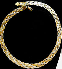 ITALIAN SILVER NECKLACE ANTIQUE IN GOLD & FINE 925 FULLY HALLMARKED PLAIT BEAUTY