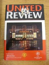 08/11/2000 Manchester United v Dynamo Kiev [European Cup] . This item is in very