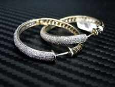 WOMENS LADIES DIAMOND HOOP EARRING 10KYELLOW GOLD ROUND CUT PAVE SETTING 1.10CTS