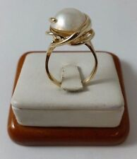 14K SOLID YELLOW GOLD MABE PEARL LADIES RING