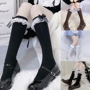 Lolita Maid Cosplay Knee High Long Socks Layered Lace Bow Kawaii Tube Stockings