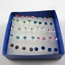 Fashion Pretty 1 Box of 20 Pairs Clear Crystal Ear Studs Earrings Allergy Kit