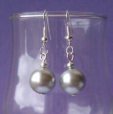 Silver Grey Glass Pearl Silver Plated Short Drop Earrings