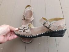 Women's La Plume Sandals Sz 39M Nubuck Leather with Buckles, Italian