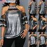 US STOCK Women Casual Sequined Bling Off Shoulder T-Shirt Loose Blouse Tops NEW